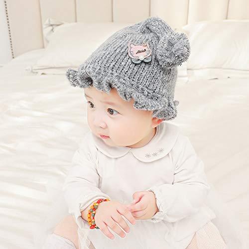 geiqianjiumai Neue Strickmütze Kinder Mütze Dicke warme Wollmütze Baby Mütze Baby Mütze grau 0-12 Monate
