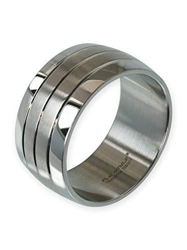 Fly Style Bandring Edelstahl Ring für Damen Herren | 12 mm breit, Ring Grösse:21.0 mm