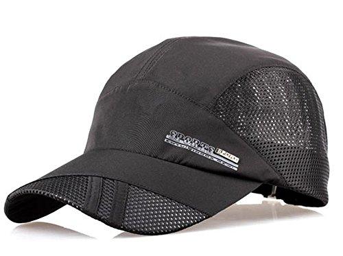 Men's Solid Baseball Hat Cap Mesh Quickly-dry Summer Sun Protection Fishing Camping Golf Trucker Cap Hat Lightweight Foldable Travel Beach Hat UPF 50+