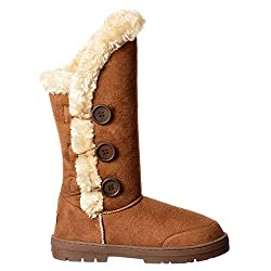 Sky Walker New Ella Ladies Women Flat Fully Fur Lined Winter Warm Boots Triple 3 Button Size 3 to 8 - 41mQHNFkNoL - Sky Walker New Ella Ladies Women Flat Fully Fur Lined Winter Warm Boots Triple 3 Button Size 3 to 8