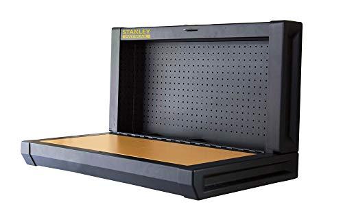 Stanley Klappbare Werkbank (einfache Wandmontage, platzsparend, bis 100 kg, ideal für Garage, 90 x 45 cm, mit Lochwand zur Werkzeugaufhängung) FMHT81528-1