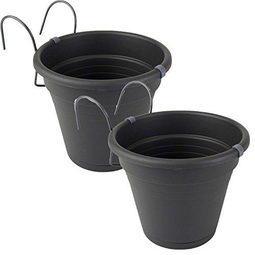 2er Set Hängetopf anthrazit Blumentopf Kräutertopf aus Kunststoff für Balkon, Zaun und Garten