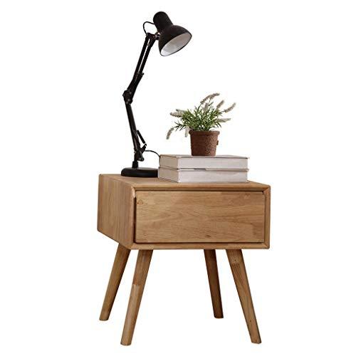 1 Schublade Traditionellen Nachttisch (WFDLIU Gummiholz Nachttische Nachtkommode Nachtschrank Sofatisch 1 Schublade großer Stauraum Möbel Schlafzimmer Nachttisch Massivholzschrank Beine es ist auch EIN Kleiner Tisch)