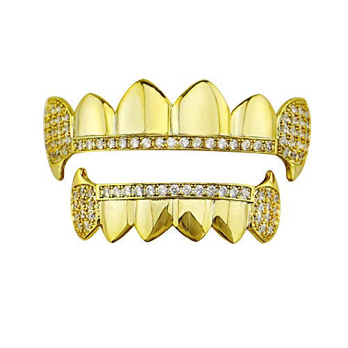 Kostüm Gold Grill - Yzibei Cool Unisex Luxuriöse Vergoldete Hip Hop Bling Zahn Set Top & Bottom Grill Zähne Caps Vampire Fangs mit Zirkonia - Hochglanz für Erwachsene Kostüm Party Rapper Zubehör (Farbe : Gold)