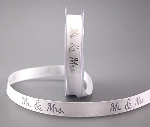 Dekoband Mr & Mrs WEISS SILBER 20 m x 15 mm Geschenkband Hochzeit Wedding Satinband für Hochzeitsgeschenk Hochzeitsalbum Schleifenband von FINEMARK