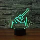Fyyanm 7 Farbwechsel Led Visuelle Ecg Beat Gitarre Modellierung Nachtlicht 3D Musikinstrument Tischlampe Geschenke Dekor Schlaf Leuchte