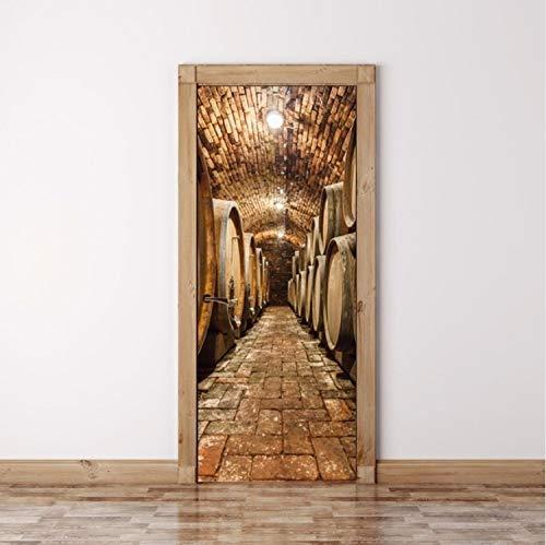 Türaufkleber DIY 3D Wandaufkleber Wandbild Home Decor Eichenfässern im Weinkeller Kunst Removable...