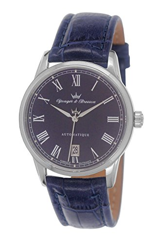 Yonger & Bresson – YBH 8366-12 – Brissac Analog – Watch Men – Automatic – blue dial – Bracelet Cuir Bleu