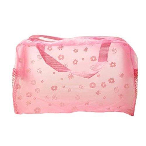 Kosmetik Tasche - TOOGOO (R) Blumendruck Transparente Wasserdichte Kosmetik Tasche rosa (mit Gaze) (Gaze Rosa)