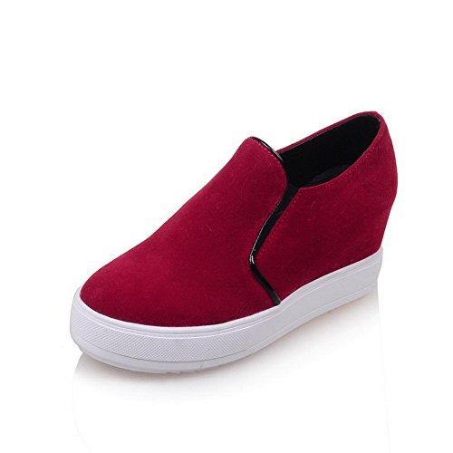 AllhqFashion Femme Tire Rond à Talon Correct Suédé Couleur Unie Chaussures Légeres Rouge