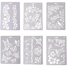 SuxiDi Plantillas de plástico para Dibujo, Manualidades Infantiles, Lavables, 6Pcs Mixed