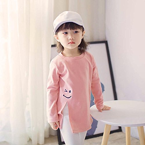 LuckyBB Toddler Baby Girls Smile Long Sleeve T-Shirt Tops Split Blouse Clothes