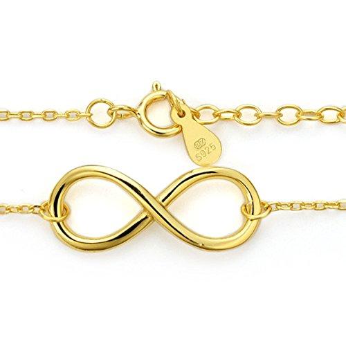 Damen Armkettchen Armband Silber Schmuck 20 cm Infinity Eternity Unendlichkeit Anhänger aus Sterlingsilber mit Gold verfeinert #1325