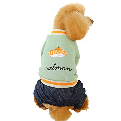 Grün Shirt Tuxedo Kostüm - Timogee Haustier Kostüm Mantel Hundejacke für Hunde Kleidung Katzen Bedrucktes Hundemantel T-Shirt Winter Haustier Warmes Sweatshirt