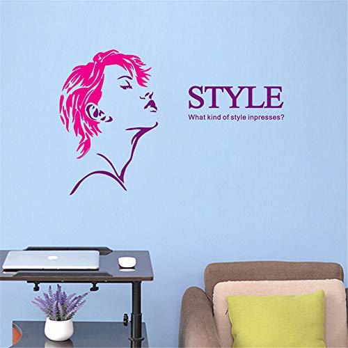lyclff Salon Aufkleber SchönheitssalonMädchen Aufkleber Haarschnitt Poster Vinyl Wandkunst...