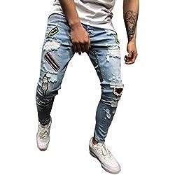 Vaqueros Hombre Rotos Pantalón de Bolsillo con Agujero Recto de algodón de Mezclilla para Hombres Pantalones Vaqueros Desgastados pantalón Deportivos Joggers Amlaiworld