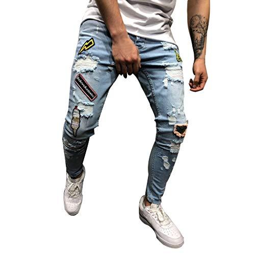 Pantalones Vaqueros Deportivos Hombres Rotos Pitillo Originales Slim Fit Skinny Pantalones Casuales Elasticos Agujero Pantalón Personalidad Slim fit Jeans con Cremallera Gusspower