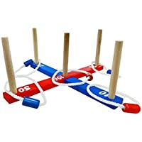Rexco Childrens Kids Classic Ring Toss Rope Quoits Pegs Hoopla Wooden Outdoor Family Party Garden Toy Game