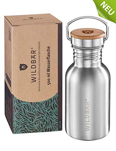 WILDBÄR® - NEU - Dichte Premium Edelstahl Trinkflasche ideal für Schule, Sport, Uni oder Outdoor, BPA-frei, kompakte einwandige Bauweise mit Bambus-Deckel, nachhaltig, ökologisch - 500ml