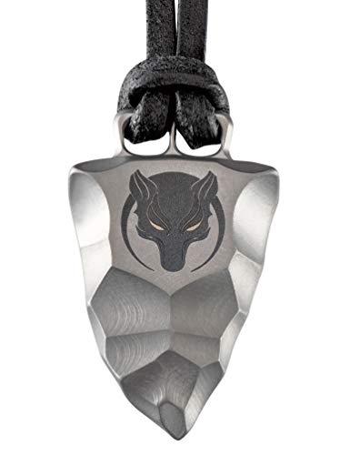 D-Vision-Jewelry Titan Faustkeil Wolf Amulett aus Reintitan Herrenschmuck Anhänger Lederband (50)