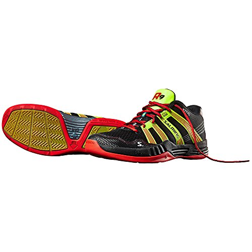 Salming Race R9 Mid 2.0 Gerichtsschuh - AW16 Black/Red/Yellow - 11.5 UK
