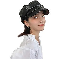 TAGVO AYPOW PU Cuero Newsboy Mujeres Boina Sombrero, otoño Invierno francés París Estilo Moda Ajustable Gatsby PU Gorras de Cuero para Mujer (Negro)
