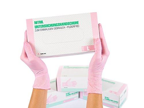 Nitrilhandschuhe 200 Stück Box (L, Nitril Rosa Pink) Einweghandschuhe, Einmalhandschuhe, Untersuchungshandschuhe, Nitril Handschuhe, puderfrei, ohne Latex, unsteril, latexfrei, disposible gloves, pink