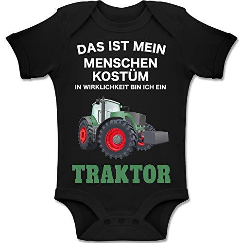 Shirtracer Karneval und Fasching Baby - Das ist Mein Menschen Kostüm in echt Bin ich EIN Traktor - 18-24 Monate - Schwarz - BZ10 - Baby Body Kurzarm Jungen Mädchen (Die Besten Kostüme Für Jungen 2019)