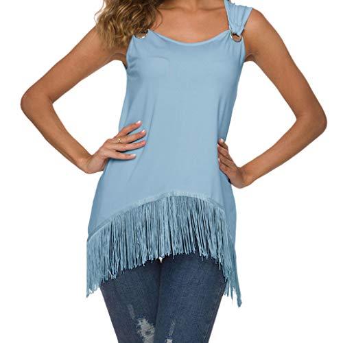CUTUDE Damen T Shirt, Bluse Kurzarm Sommer Freizeit Rundhals Quaste Volltonfarbe Ärmellos Lose Tops (Hellblau, Large) (Junior Arzt Kostüm)