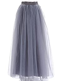 2b47e248438c Sunzeus Damen Lange Röcke 3 Schichten Tüllrock hohe Taille Prinzessin  Partykleid