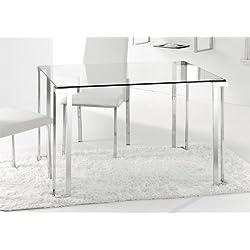 Adec - Mesa de comedor rectangular dalí, medidas 120 x 80 x 75 cm, color transparente y acero