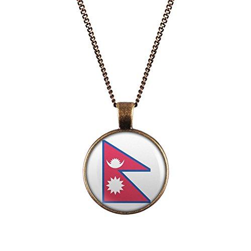WeAreAwesome Nepal Flagge Halskette - Länderkette mit Fahne Anhänger Unisex Kette