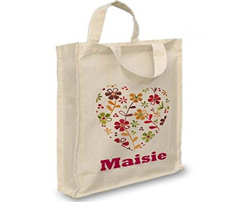 Mädchen, personalisierbar, Girl 's Tasche, Name auf eine Tasche, Mädchen Mini Shopper, Vintage Herz