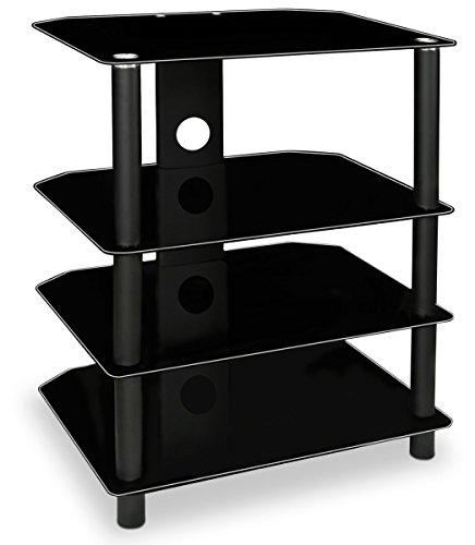 Audio-racks Steht (Mount-It. TV Media Ständer, Glasablagen, Audio Video-Komponenten, Speicher für Xbox, Playstation, Laptop, Lautsprecher, Kabel-Boxen, 88LB Tragkraft, schwarz Seide (mi-867))