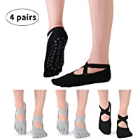 LAOZHOU Calcetines de Yoga para Mujeres, Antideslizantes, Sujetadores y Correas, Ideales para el Mejor Ejercicio/Baile/Pilates/Ballet/Entrenamiento Descalzo