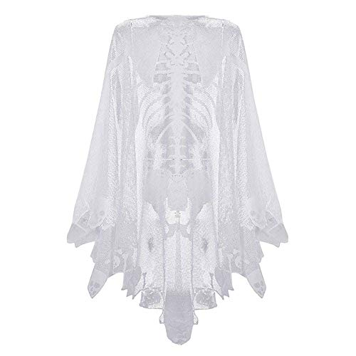 Asien Halloween-Skelett-Schal Skeleton Spitze Poncho Schädelknochen-Halloween-Kostüm Cape Kreative Damen-Kostüm Halloween Dekoration Weiß Große