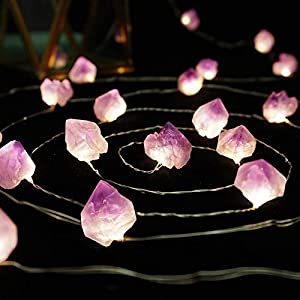 Floristlighting Natural Amethyst Raw Stones LED Copper Lights 10ft 40 Lights with Remote for Indoor Outdoor Tent Wedding Valentine's Day Present Bedroom Party Birthday Ornament (40LEDS) …
