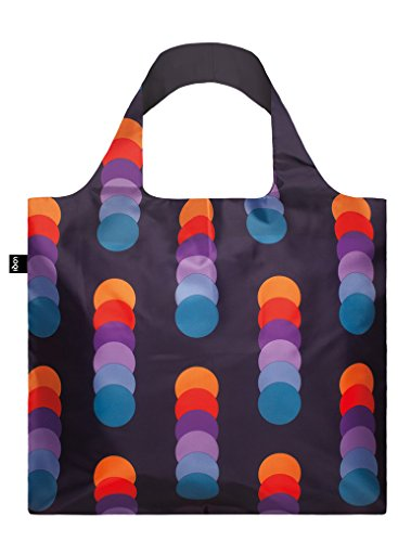 LOQI GEOMETRIC Bag - Einkaufstasche Reise-Henkeltasche, 50 cm, Stripes Circles