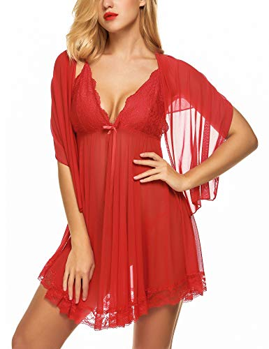 ADOME Damen Tüll Kleid Elegante Negligee Negligé Spitze BH Nachtkleid Reizwäsche Nachtwäsche mit Poncho Dessous Set Rot S