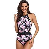 QingJiu Damen Print Einteiliger Badeanzug Mit Badeanzug Komfortabler Sommerstrand (Rosa, Medium)