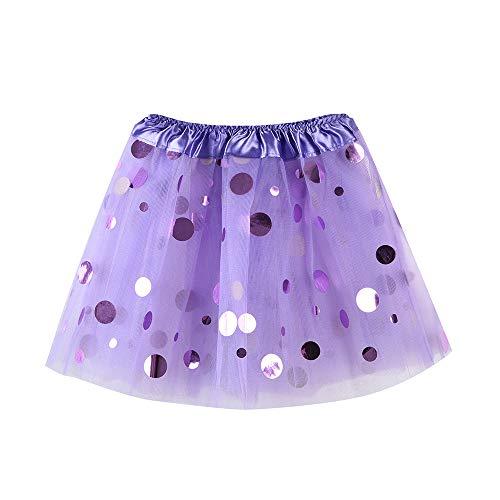 WOZOW Kind Tüllrock Einfarbig Punktmuster Kurz Kleider Elegant Tanzkleid Halloween Weihnachten Karneval Fasching Röckchen Mädchen Minirock Reifrock