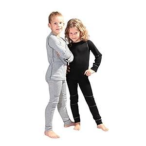 icefeld® – atmungsaktives Thermo-Unterwäsche Set für Kinder – warme Wäsche aus langärmligem Oberteil + Langer Unterhose (ÖkoTex100)