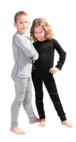icefeld® - atmungsaktives Thermo-Unterwäsche Set für Kinder - warme Wäsche aus langärmligem Oberteil + langer Unterhose: schwarz in Größe 110/116