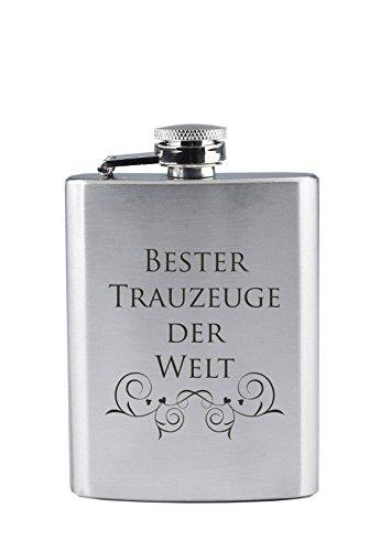 Edelstahl Flachmann mit Gravur - Bester Trauzeuge der Welt - als Geschenk oder als Dankeschön nach der Eheschließung (90 ml)