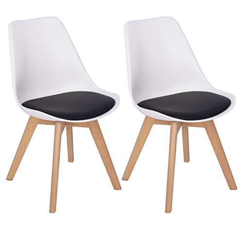Woltu bh97wsz-2 coppia sedie da pranzo sgabello con schienale plastica ecopelle legno di faggio sedia imbottita per cucina ristorante moderno bianco+nero 2 pezzi