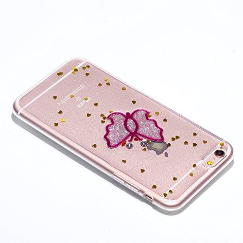 Custodia per Apple iPhone 6S / iPhone 6 4.7 Torretta di Trasmissione - Bling Girlyard Glitter Brillantini in TPU Sottile Morbido Colorate Silicone Trasparente Slim Case Cover Gel Antiurto Elegante Ka Rosa Farfalla