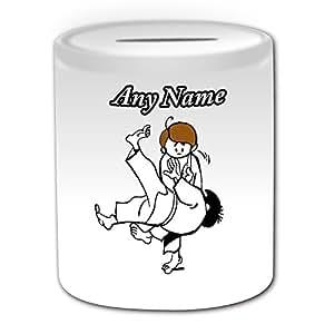 Cadeau personnalisé-Tirelire/Judo/Arts martiaux Design-Blanc-nom/Message sur votre Unique-Style japonais-Judoka Japon