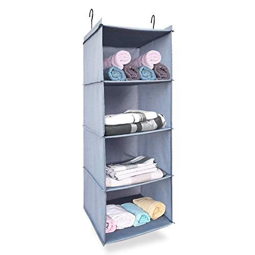 Kleiderschrank Organizer mit 4Böden, klappbar Wasserdicht Langlebig Oxford Tuch Closet Organizer Easy Mount grau