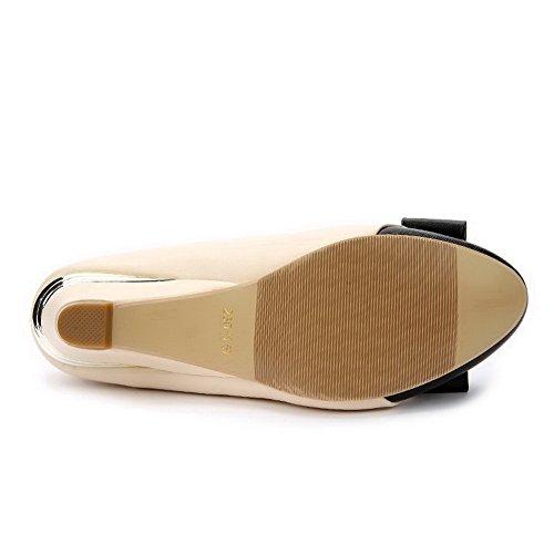 AalarDom Damen Rund Zehe Pu Leder Ziehen Auf Niedriger Absatz Pumps Schuhe Aprikosen Farbe