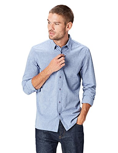 Find camicia casual in cotone uomo, blu (chambray), x-large